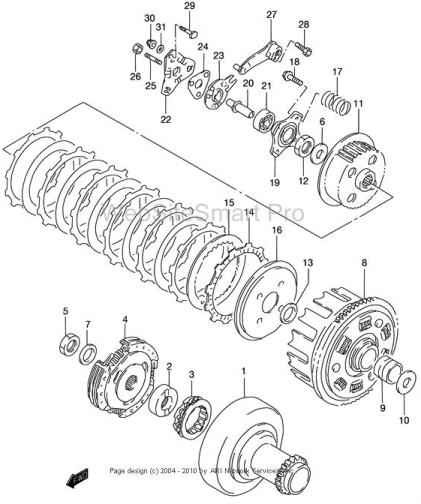 2001 Suzuki LT250 Clutch Fiche Diagram